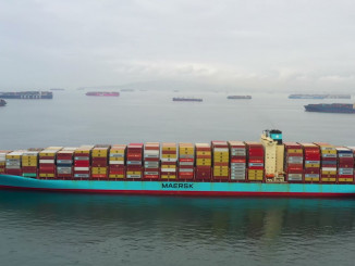 container ships backed up off Southern California